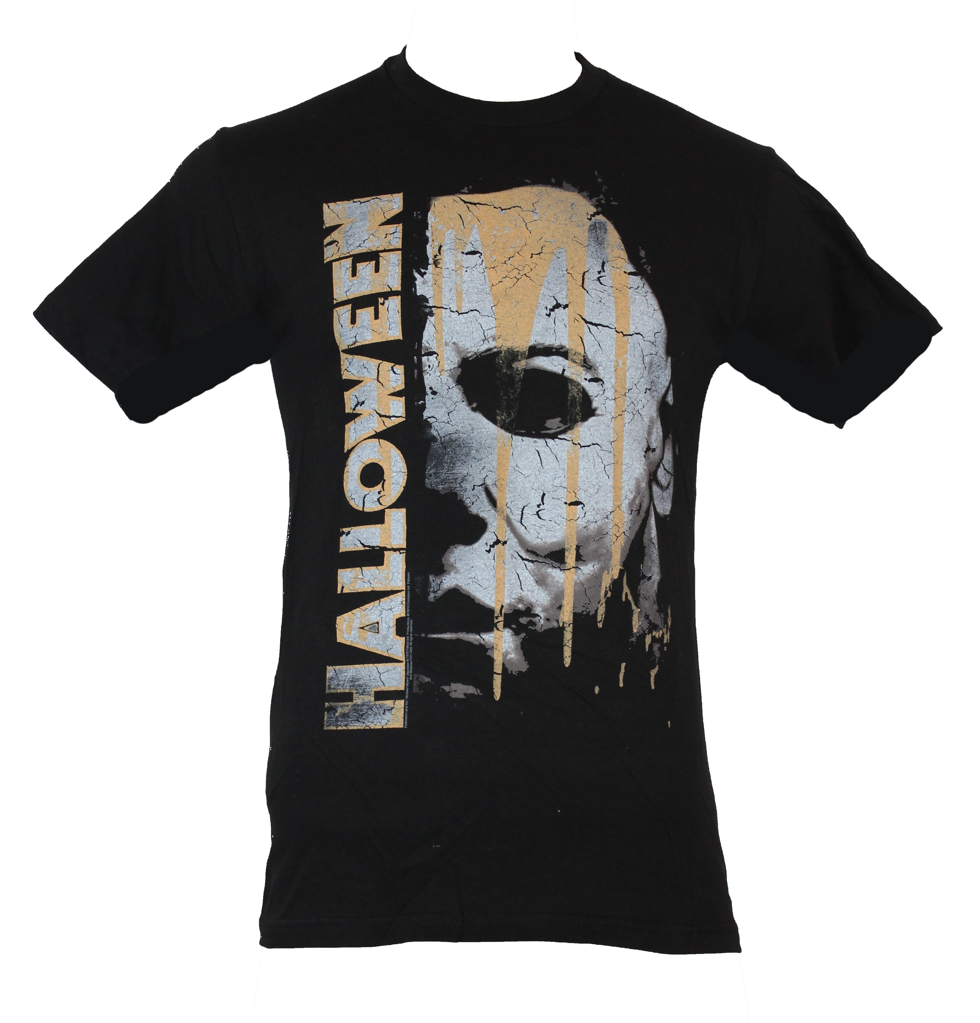 Halloween Mens T Shirt Classic Cracke Side Michael Myers