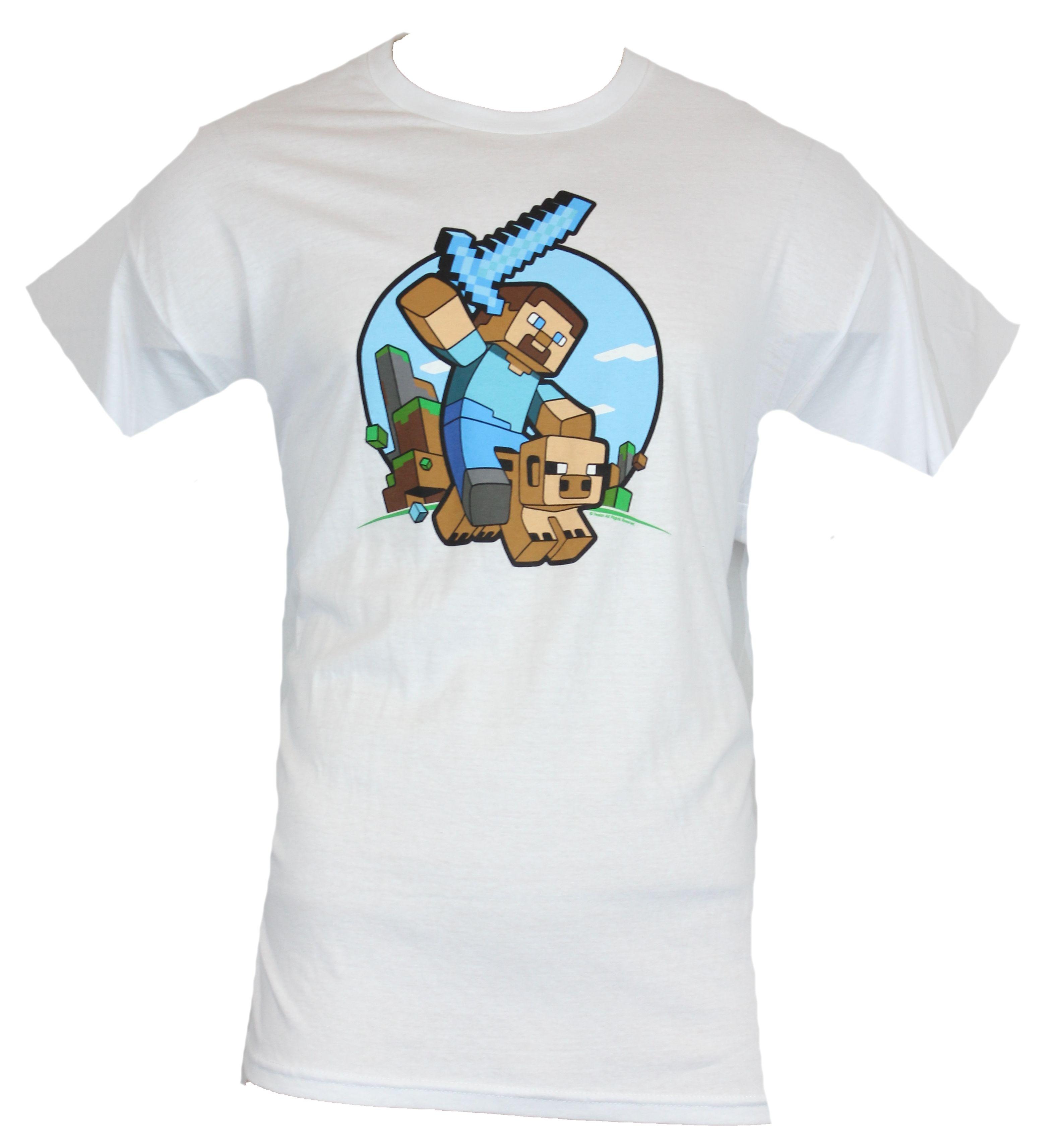 Minecraft mens t shirt steve circle pig ride image white for Mine craft t shirt
